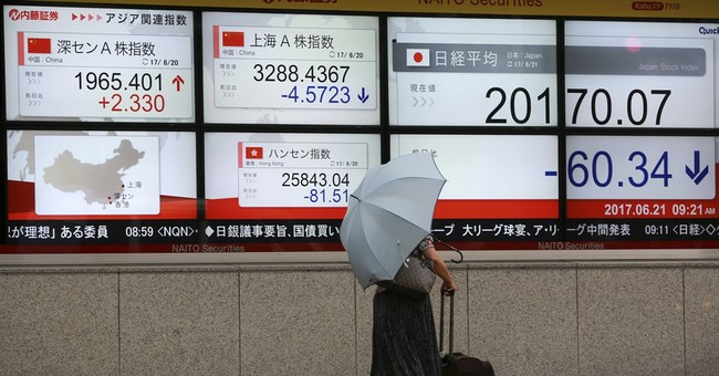 Asian stocks lower after Wall Street losses