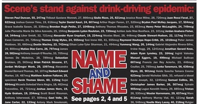 New Zealand newspaper names all drunk drivers on front page