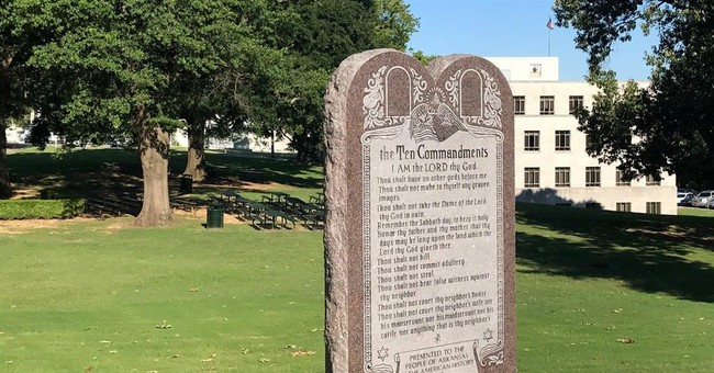 Commandments monument placed in front of Arkansas Capitol