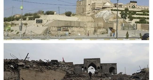 A Mosul mosque in rubble, victim of militants' destruction