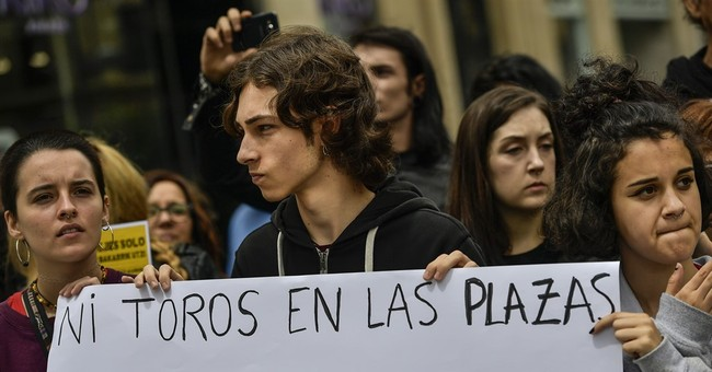 Protest against bullfights in Pamplona before famed festival