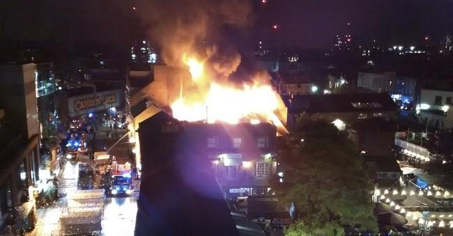 Fire strikes building in London's Camden market