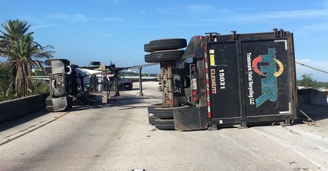 Florida driver survives crash when metal object falls on van