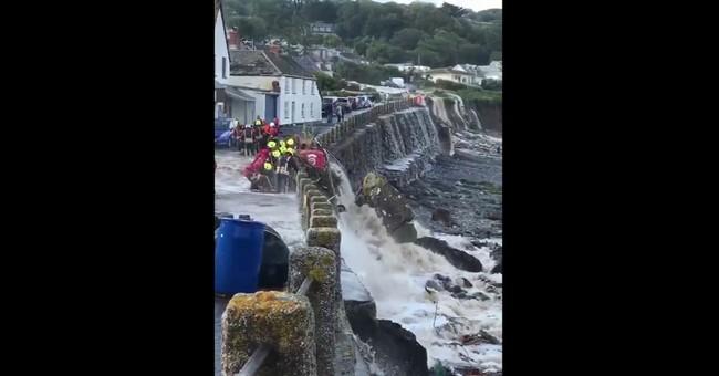 Flash flooding hits UK coastal village in Cornwall