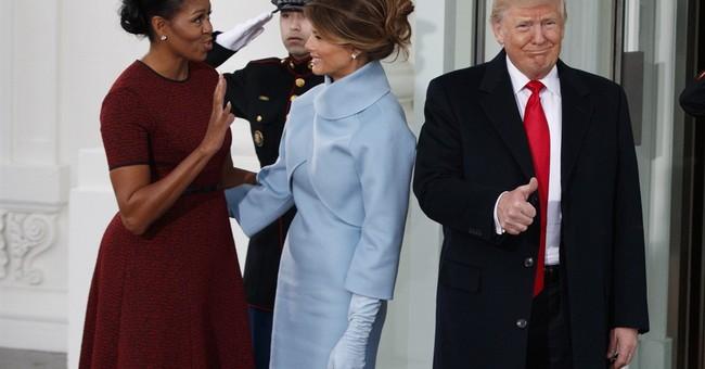 Melania Trump wears sky-blue cashmere Ralph Lauren ensemble