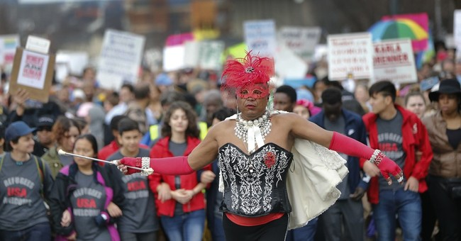 AP PHOTOS:  Women's marches flood parks, streets worldwide