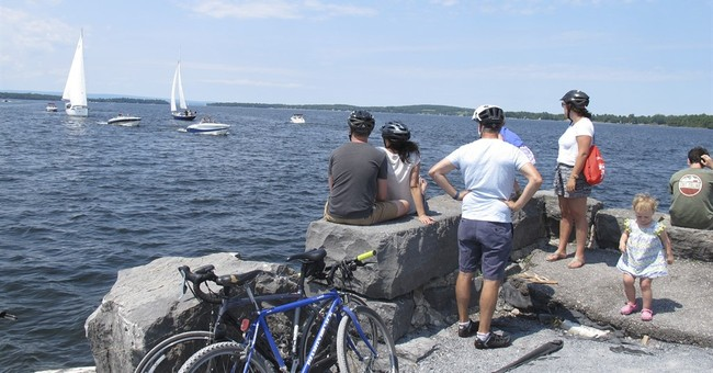 Biking across Lake Champlain on an old rail causeway