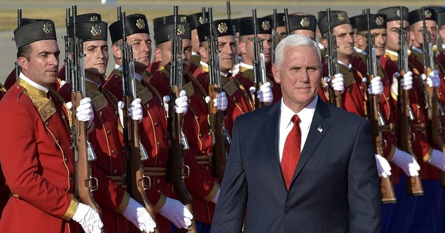 The Latest: Pence: Russia is destabilizing Balkans