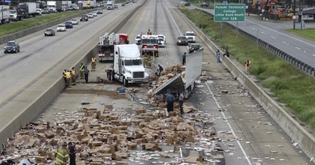 It's Not Delivery. It's DiGiorno Pizza spilled on interstate