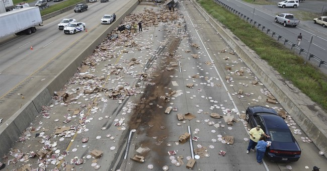 It's not delivery. It's DiGiorno Pizza ... spilled on I-30