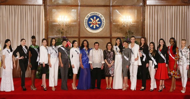 Philippine leader tames his words for Miss Universe hopefuls