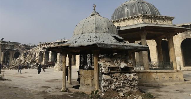 Aleppo's landmark mosque bears scars of Syria's war