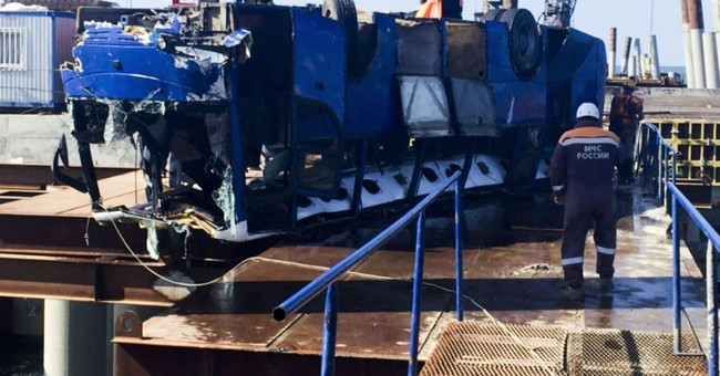 Bus drives off a pier in southern Russia, killing 17 workers