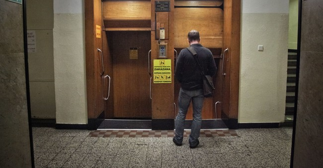 Paternoster elevator in Prague is a relic of an earlier era
