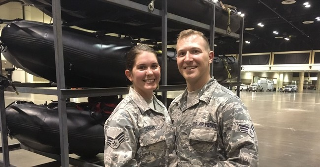 No bride's dress? No problem: Guard couple tie knot in Irma