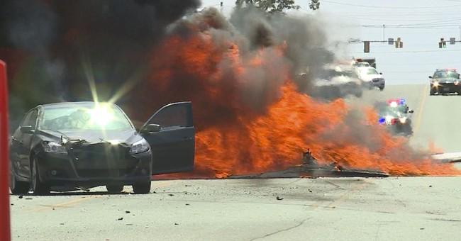 Pilot, motorist walk away after plane crashes on roadway