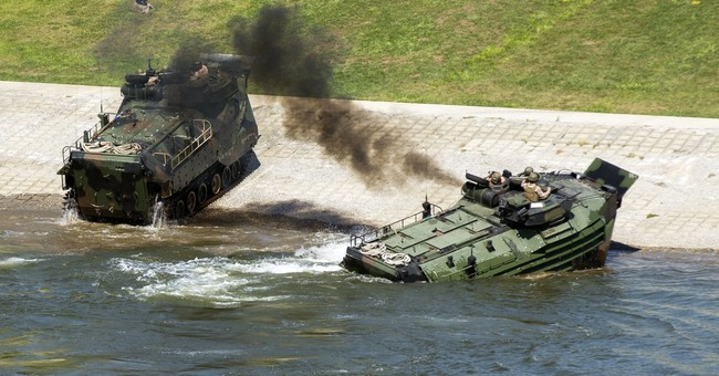 Amphibious vehicle ignites, 8 Marines sent to burn center
