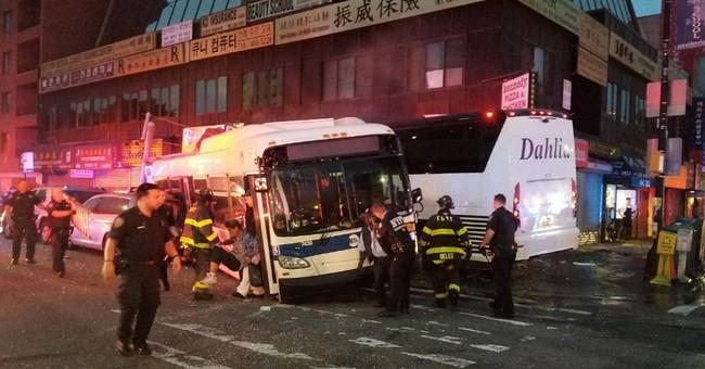 Charter bus barrels into NYC bus, killing 3 and injuring 16