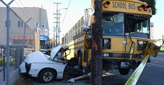 Students, bus driver escape serious injury in crash