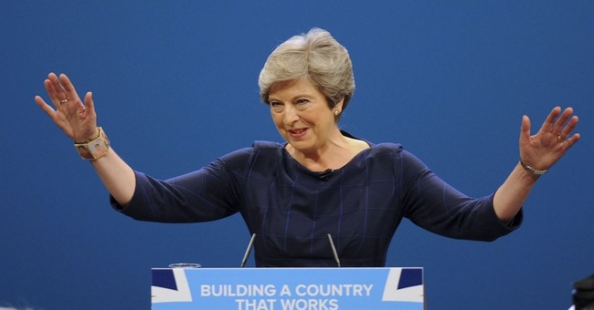 Cough, prankster make May's British Dream speech a nightmare