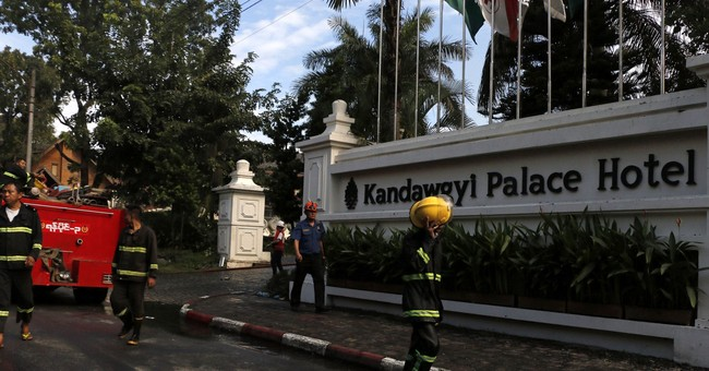 Fire rips through luxury Myanmar hotel, 1 body recovered