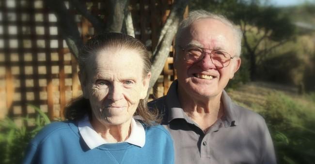 Older couples unable to escape wildfires embrace a last time