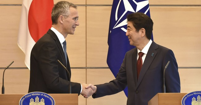 The Latest: Japan's Abe, NATO chief discuss North Korea