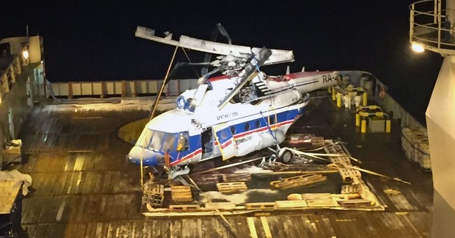 Crashed Russian helicopter raised from its Arctic seabed