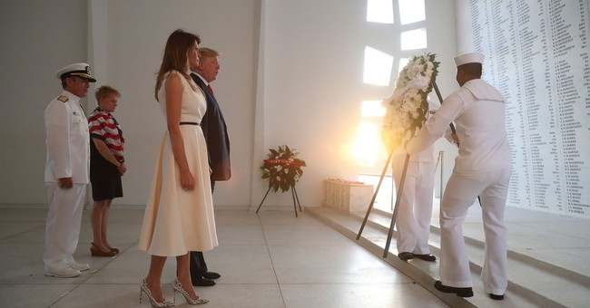 The Latest: Trump visits Hawaii's USS Arizona memorial