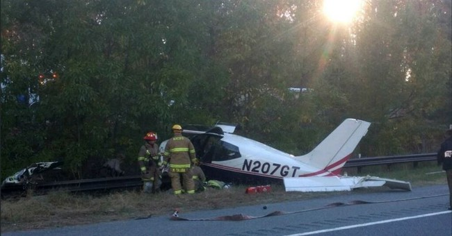 Small plane crashes near Maryland interstate; no one hurt