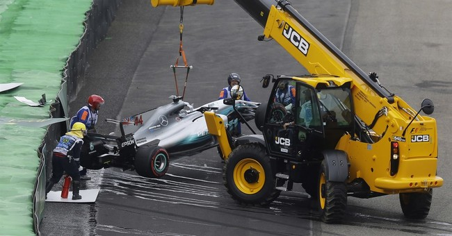 Bottas takes Brazilian GP pole after Hamilton crashes