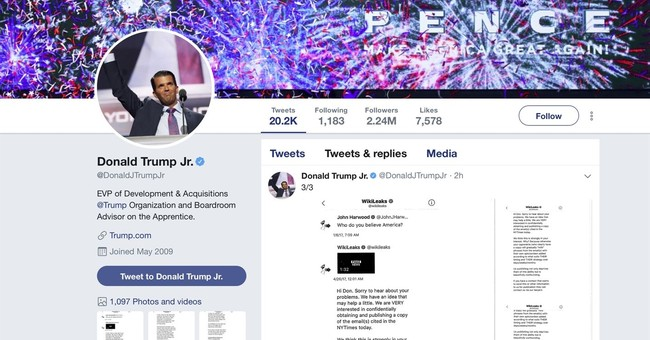 Trump Jr. messaged with WikiLeaks during 2016 campaign