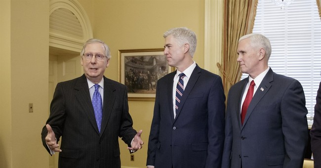 The Latest: Pence hopes to avoid 'nuclear option' on Gorsuch