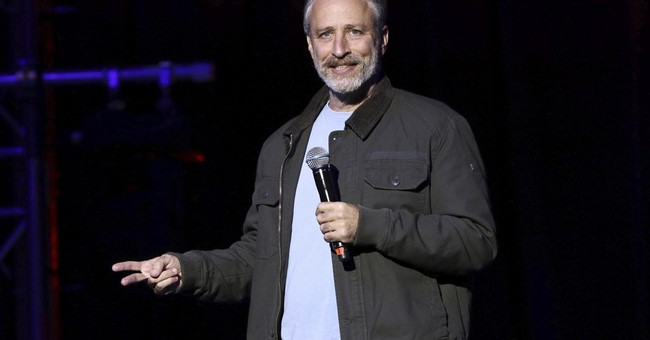 Jon Stewart dresses as Trump, criticizes 'vindictive chaos'