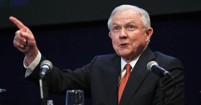 Sessions jokes about Russian meetings in speech to lawyers