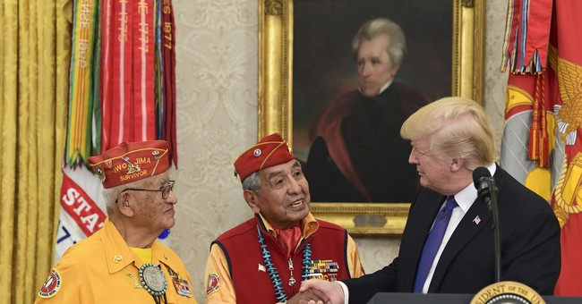 The Latest: White House defends Trump's 'Pocahontas' joke