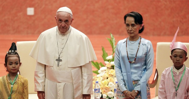Pope demands rights for all in Myanmar, omits 'Rohingya'