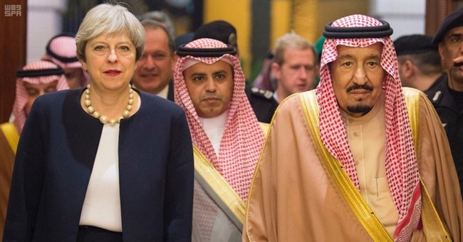 Britain's May in Saudi Arabia after surprise stop in Iraq