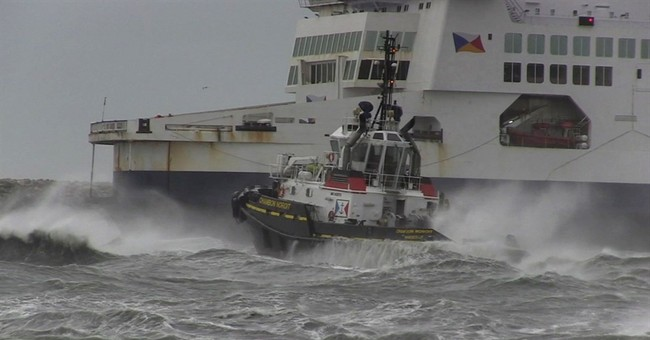 Ferry runs aground in Channel in high winds, all are rescued