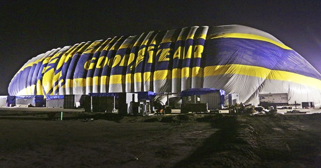 Goodyear blows up new home for airship: an inflatable hangar