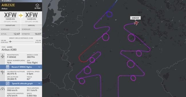 Pilot traces virtual Christmas tree in German test flight
