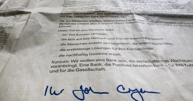 Deutsche Bank says 'sorry' in full-page German newspaper ads
