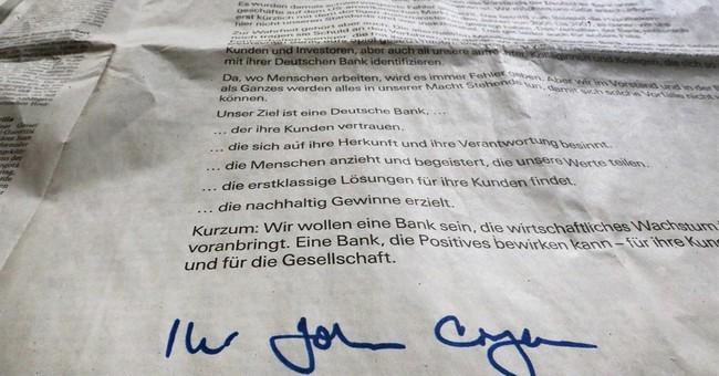 Deutsche Bank says 'sorry' in full-page German newspaper ads