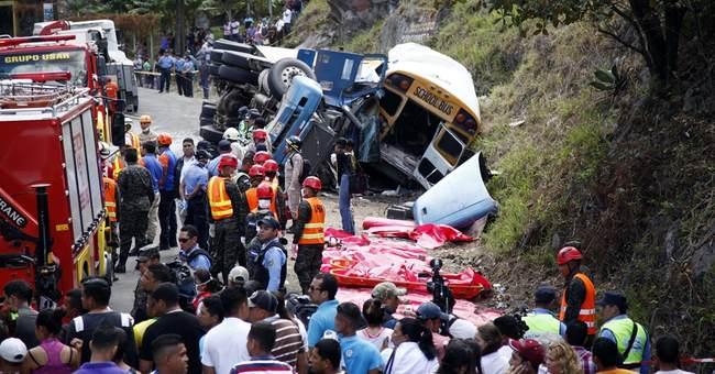Truck and bus crash in Honduras, killing 16, injuring 34