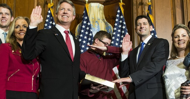 Kansas Congressman's son 'dabs' during swearing-in photo op