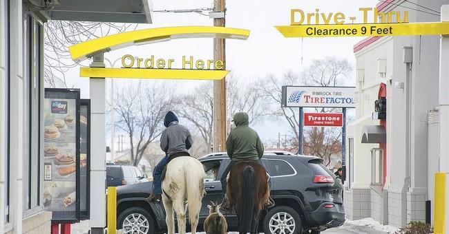 McDonald's drive-thru had some horses, 'E-I-E-I ... whoa!'