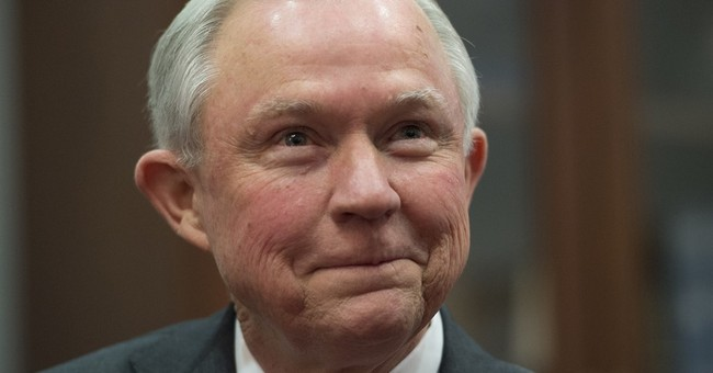 Dueling images of attorney general nominee Jeff Sessions