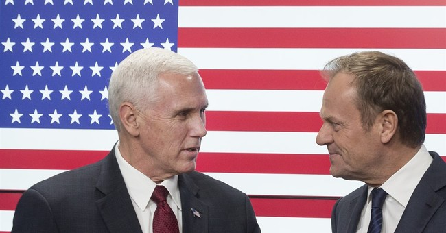 American flag has 51 stars for Pence visit to European Union