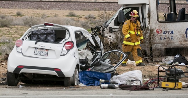 Fresno to Vegas charter bus crashes, killing 1, injuring 26