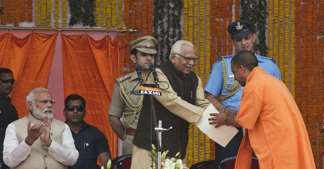 Hindu hard-liner sworn in as leader of India's largest state